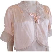 Bed Jacket Vintage 1930s Peach Silk Charmeuse Net Lace May Company Los Angeles