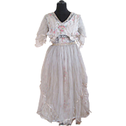 Antique Victorian Dress French Watercolor Silk Taffeta Fine Net And Chantilly Lace