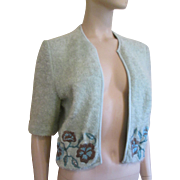 Wool Boucle Sweater Cardigan Vintage 1950s Adele Martin Original Embroidered