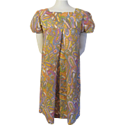 Vintage 1960s Baby Doll Dress Psychedelic Print