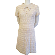 Ivory Crocheted Lace Dress Vintage 1960s Carol Craig Bow Tie