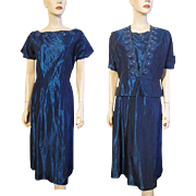 REDUCED Vintage 1950s Blue Taffeta Dress Bolero Jacket Rhinestone Faux Pearl Larger Size