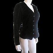 Black Velvet Jacket Vintage 1980s Scott McClintock Fancy Buttons