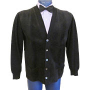 Mens Rockabilly Sweater Vintage 1950s Black Wool Suede Leather Mallerich Spain Cardigan