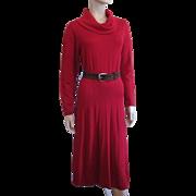 Red Sweater Dress Vintage 1970s R & K Originals M