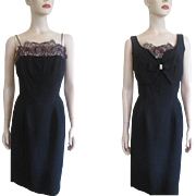 Black Cocktail Wiggle Dress Vintage 1950s Bolero Vest Rhinestones