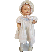 Effanbee Baby Dainty Doll Vintage 1930s Composition Original Clothes Bonnet 15""