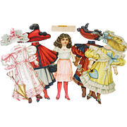RARE Antique Raphael Tuck Paper Doll Rosy Ruth 1894 Hats Gowns Unused Set