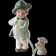 German Hertwig Bisque Doll Vintage 1920s Hunter Flapper Dog On Leash