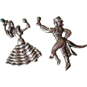 Mexico Silver Flamenco Dancer Brooch Vintage 1940s Pair Pins Green Turquoise