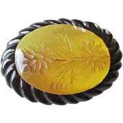 Carved Bakelite Brooch Vintage 1940s Black Applejuice Flowers