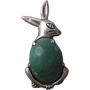 Old Mexico Sterling Rabbit Brooch Vintage 1940s Green Turquoise Cabochon Pin