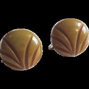 Vintage 1940s Carved Bakelite Earrings Screwback Avocado Green