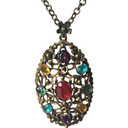 Colorful Rhinestone Pendant Necklace Vintage 1950s Chain Large