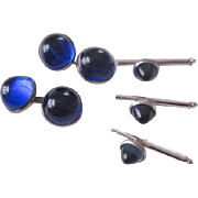 Edwardian Tuxedo Cuff Links Studs Set Cobalt Blue Glass Circa 1910