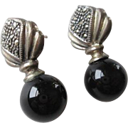 Vintage Sterling Onyx Marcasite Pierced Earrings Signed Jewelry Art Deco Design