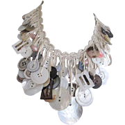 Mother Of Pearl Button Bib Necklace Vintage 1970s Macrame Handmade Buckle