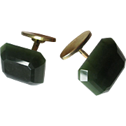 Mens Vintage 1970s Cuff Links Beveled Green Glass Signed Dierx