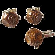 Mod Confetti Lucite Men's Jewelry Set Vintage 1960s Cuff Links Tie Bar