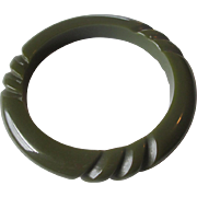 Bakelite Bangle Bracelet Vintage 1940s Olive Green 3 Section Rope Jewelry Accessory