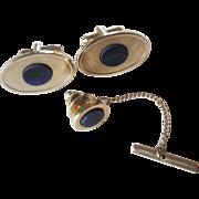 Mod Dante Cuff Links Tie Tack Vintage 1960s Lapis Gold Tone Men's Jewelry Set