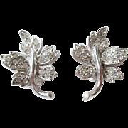 Ledo Polcini Leaf Earrings Vintage 1950s Rhinestone Signed Jewelry Pair