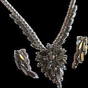 SALE Juliana Delizza Elster Necklace Earrings Set Vintage 1960s Hematite Navette Book Piece