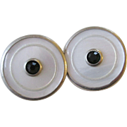 Art Deco Cuff Links Snap Link Vintage 1920s Mother Of Pearl MOP Black Rhinestone Mens Jewelry