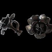 Sterling Rose Earrings Vintage 1930s Screwback Flower Signed