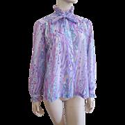 Sheer Lavender Blouse Vintage 1960s Ruffles Pussycat Bow Teddi of California