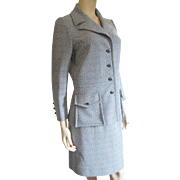 SOLD Womens Skirt Suit Jacket Vintage 1970s Butte Knit Blue Black White