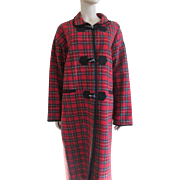 SOLD Blanket Coat Red Wool Plaid Vintage 1970s Womens Outerwear Toggle Buttons Large Size