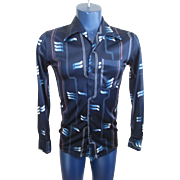Mens Disco Shirt Vintage 1970s Blue Polyester Groovy Retro Design Skinny Fit Clubwear