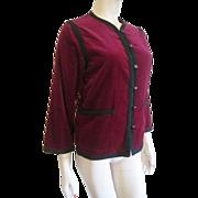 Saks Fifth Avenue Velvet Jacket Vintage 1970s Crimson Red Black