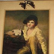 """1931 Oilette """"Boy & Rabbit"""" Calendar"""