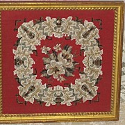 SOLD Gorgeous  1800's Antique Victorian Framed Beadwork Needlepoint Picture