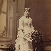 Dated 1880 Cabinet Card of Beautifully Dressed Girl Holding her High School Diploma-Eastlake .