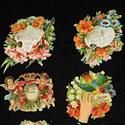 Six Victorian Embossed Die Cuts with Flowers, Cherubs, Birds & Five Phrases-From 1886 Scrapboo