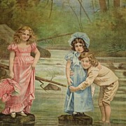 SALE Unused Dated 1902 Litho on Fabric Pillow-3 Children in River by Schwab & Wolf, NY