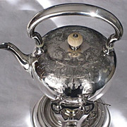 SALE Large 19th Century Silver Plate Tilt Tea Pot with Heavy Engraving by Wilcox Silver Plate