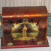 SALE Huge Victorian Celluloid Upright Manicure Box with Swing-Out Sides & Some Contents