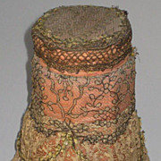 Large Dated 1914 Talc Powder Jar Covered in Lace w/Gold Metallic & French Ribbon Rosette Swags