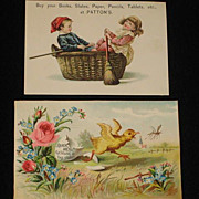 Two Advertising Trade Cards from 1886 Scrapbook-Patton's Books, etc. & Quick Meal Gas & Gas