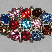 Stunning Large Vintage Multi-Color Cut Crystal Rhinestone Brooch
