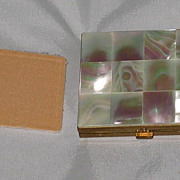 Vintage Mother of Pearl Compact with Closed Powder Compartment-Never Used