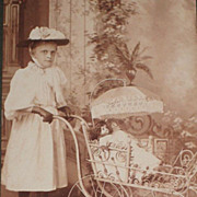 C. 1890's Double Sided Cabinet Card-Girl with Two Dolls in Buggy & Four Young Children