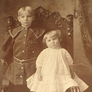 SALE PENDING Antique Cabinet Card of Adorable Young Girl & Boy Standing on Chair
