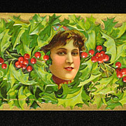 """SALE Antique Embossed Postcard-Young Lady Peeking Out of Holly & Berries-""""Merry Christmas .."""