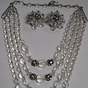 SALE Vintage Clear Multi Faceted Beaded & Rhinestone Roundels Four Strand Necklace & Earrings