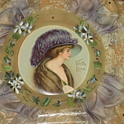 SALE Large Dated 1910 Hand Painted Celluloid & Silk Valentine's Day Card with Beautiful Woma
